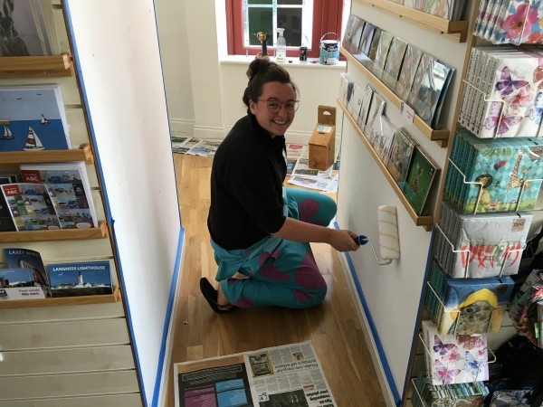 Rachael decorating the Peel Visitor Centre